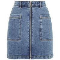 JDY Bright Blue Zip Front Denim Skirt New Look