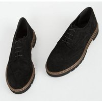 Black Suede Lace Up Chunky Brogues New Look
