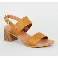 Tan 2 Strap Block Heel Footbed Sandals New Look Vegan