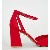 Wide Fit Red Suedette 2 Part Courts New Look