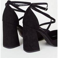 Black Suedette Strappy Flared Block Heels New Look Vegan