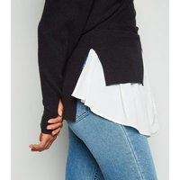 Cameo Rose Black 2 in 1 Wrap Jumper New Look