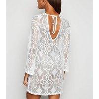 Off White Crochet Beach Kaftan New Look