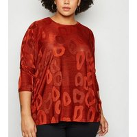 Blue Vanilla Curves Rust Abstract Pattern Tunic New Look