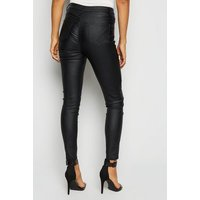 Cameo Rose Black Zip Leather-Look Skinny Jeans New Look