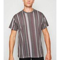 Grey Vertical Stripe T-Shirt New Look
