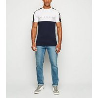 Navy LA Slogan Muscle Fit T-Shirt New Look