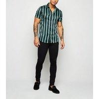 Men's Black Stripe Satin Short Sleeve Shirt New Look