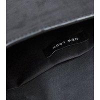 Black Suedette Diamanté Ring Clutch Bag New Look Vegan