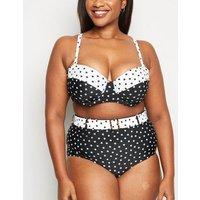 Curves Black Spot Underwired Bikini Top New Look