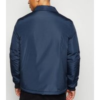 Navy Padded Collared Jacket New Look