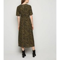 Khaki Tiger Print Side Split Midi Dress New Look