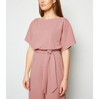 Pink Batwing Belted Culotte Jumpsuit New Look