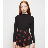 Girls Black Rose Print Ruffle Skort New Look