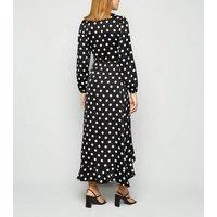 Black Spot Satin Long Sleeve Midi Dress New Look