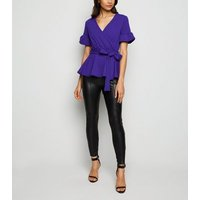 Blue Belted Peplum Top New Look