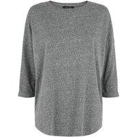 Dark Grey Brushed 3/4 Sleeve Top New Look