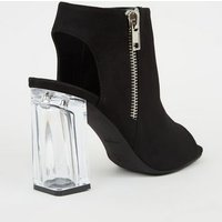 Black High Vamp Clear Block Heel Boots New Look