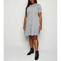 Curves Grey Fine Knit Short Sleeve Smock Dress New Look