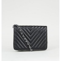 Black Leather-Look Quilted Shoulder Bag New Look