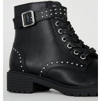 Girls Black Studded Lace Up Boots New Look Vegan