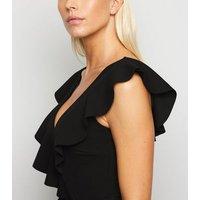 Black Ruffle Plunge Neck Bodysuit New Look