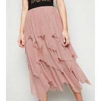 Cameo Rose Pale Pink Tiered Mesh Midi Skirt New Look