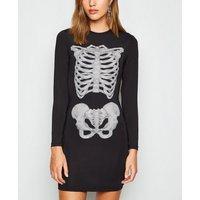 Brave Soul Black Halloween Skeleton Bodycon Dress New Look