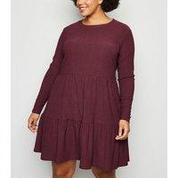Curves Burgundy Mini Smock Dress New Look