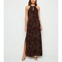 Apricot Brown Leopard Print Halterneck Maxi Dress New Look