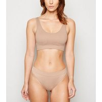 Mink Ribbed Seamless Crop Top New Look