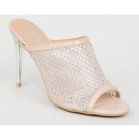 Cream Diamante Mesh Stiletto Heel Mules New Look