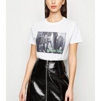 White Halloween The Addams Family T-Shirt New Look