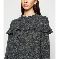 Black Spot Frill Trim Long Sleeve Top New Look