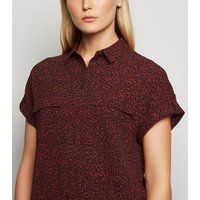 Red Leopard Print Short Sleeve Utility Shirt New Look
