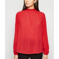 Red Shirred Neck Long Sleeve Crinkle Blouse New Look
