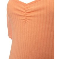 Coral Ribbed Mesh Sleeve Bodysuit New Look