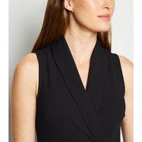 Black Scuba Crepe Sleeveless Tuxedo Dress New Look