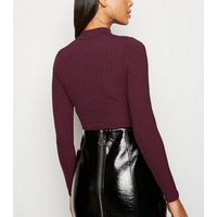 Burgundy Ribbed High Neck Crop Top New Look
