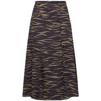 Petite Khaki Satin Tiger Print Midi Skirt New Look