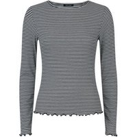 White Stripe Frill Trim Long Sleeve T-Shirt New Look