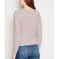 Rust Stripe Frill Trim Long Sleeve T-Shirt New Look
