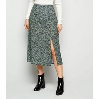 Petite Green Spot Side Split Midi Skirt New Look
