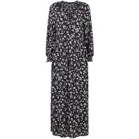 Black Floral Long Sleeve Maxi Smock Dress New Look