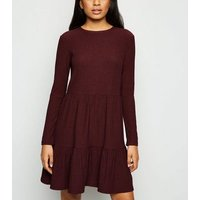 Petite Burgundy Crinkle Long Sleeve Smock Dress New Look