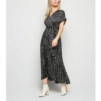 Petite Black Satin Spot Pleated Midi Dress New Look