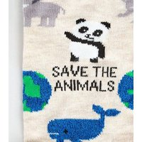 Stone Save The Animals Slogan Socks New Look