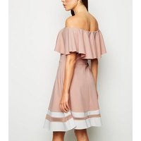 Missfiga Pink Stripe Hem Bardot Skater Dress New Look