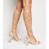 Cream Suedette Ankle Tie Clear Block Heels New Look