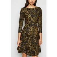 Missfiga Brown Leopard Print Skater Dress New Look